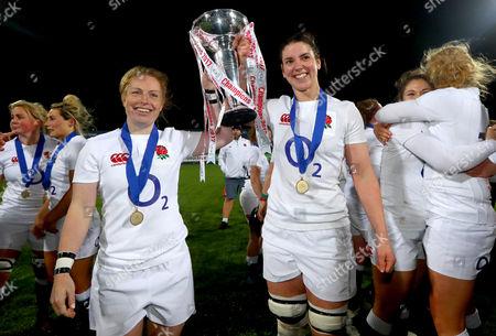 Ireland vs England. England?s La Toya Mason and Sarah Hunter celebrate