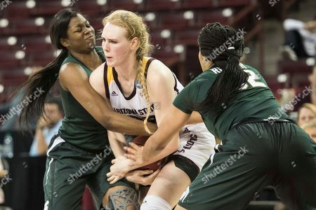 Quinn Dornstauder, Taya Reimer, Mardrekia Cook Arizona State center Quinn Dornstauder, center, battles for possession against Michigan State forward Taya Reimer, right, and Mardrekia Cook, left, during a first-round game in the women's NCAA college basketball tournament, in Columbia, S.C. Arizona State defeated Michigan State 73-61