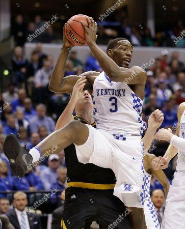 Drew McDonald, Edrice Adebayo Kentucky forward Edrice Adebayo (3) grabs a rebound in front of Northern Kentucky forward Drew McDonald (34) during the first half of a first-round game in the men's NCAA college basketball tournament in Indianapolis
