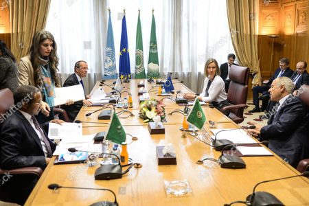 A four party meeting between the Secretary General of the Arab League, Ahmed Aboul Gheit (R, front), the High Representative of the African Union in Libya, Jakaya Kikwete (L, front), the High Representative of the European Union for Foreign Afairs and Security Policy, Federica Mogherini (R, back), the United Nations Secretary-General's Special Representative and Martin Kobler (L, left) Head of the UN Support Mission in Libya, at the Arab League headquarters in Cairo, Egypt, 18 March 2017. The meeting was held to discuss developments regarding conditions in Libya and efforts to reach a peaceful settlement to the crisis.