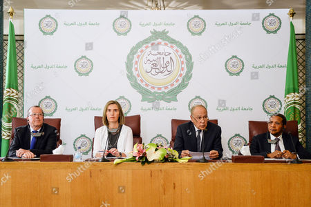 (L-R) The United Nations Secretary-General's Special Representative and Head of the UN Support Mission in Libya, Martin Kobler, the High Representative of the European Union for Foreign Afairs and Security Policy, Federica Mogherini, the Secretary-General of the Arab League, Ahmed Aboul Gheit and the High Representative of the African Union in Libya, Jakaya Kikwete, hold a joint press conference after their four party meeting at the Arab League headquarters in Cairo, Egypt, 18 March 2017. The meeting was held to discuss developments regarding conditions in Libya and efforts to reach a peaceful settlement to the crisis.