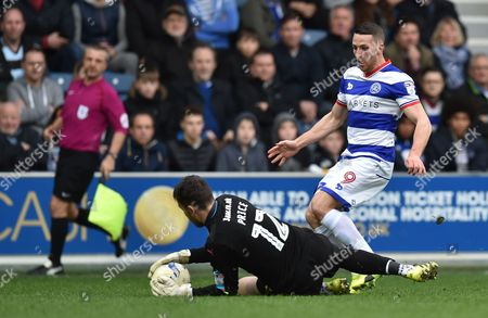 Conor Washington of QPR watches as Rotherham United Goalkeeper Lewis Price  grabs the ball during the Sky Bet League Championship match between QPR and Rotherham United played at Loftus Road, London on 18th March 2017