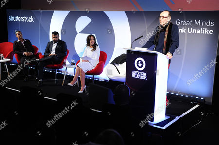 Stock Image of Ben McKie (Co-founder, Psyched), Hussain Manawer (Poet, Campaigner, Future Astronaut, Hussain's House), Kathleen Saxton (Founder, The Lighthouse Company and Psyched) and Oliver James (Clinical Psychologist, Author and Broadcaster)