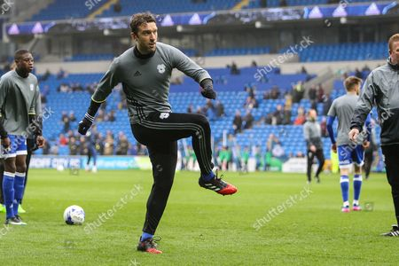 Rickie Lambert of Cardiff City warms-up before the EFL Sky Bet Championship match between Cardiff City and Ipswich Town at the Cardiff City Stadium, Cardiff