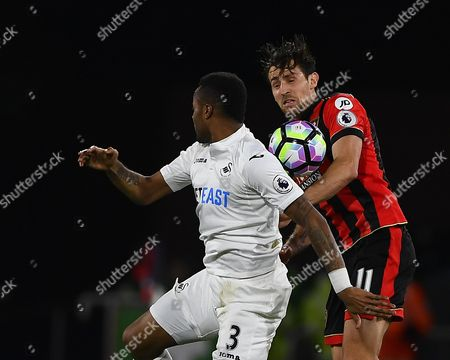 Jordan Ayew of Swansea City and Charlie Daniels of AFC Bournemouth battle for the ball during AFC Bournemouth vs Swansea City, Premier League Football at the Vitality Stadium on 18th March 2017