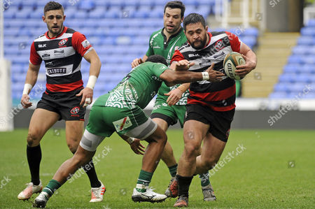 Marlen Walker of Cornish Pirates is tackled by Ben Ransom of London Irish during the Greene King IPA Championship Match between London Irish and Cornish Pirates on March 18th at the Madejski Stadium, Reading, Berkshire.