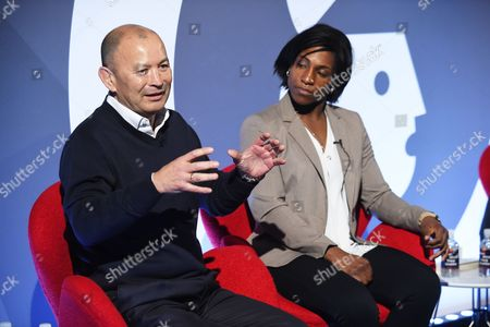 Eddie Jones (Head Coach, England Rugby) and Maggie Alphonsi MBE (Rugby World Cup Winner, England Rugby)