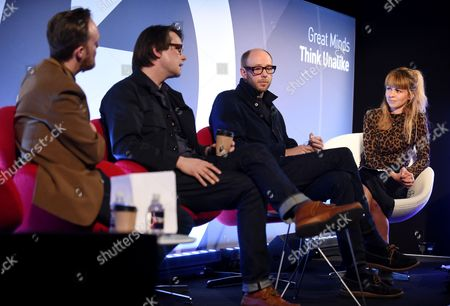 Jason Bick (Creative Director, Innovation Group, Time Inc.), Adam Smith (Commercials and Film Director, Adam Smith), Tom Rowlands (Musician) and Charlotte Gunn (Editor, NME.COM) speaking at an NME event at Advertising Week Europe