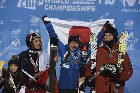 Japanese Ayana Onozuka (C), gold medal, French Marie Martinod (L), silver medal, and US Devin Logan (R), bronze medal, on the podium after the Women's Halfpipe Freestyle Final as part of the FIS Freestyle Ski and Snowboard World Championships in Sierra Nevada, Granada, Spain, 18 March 2017.