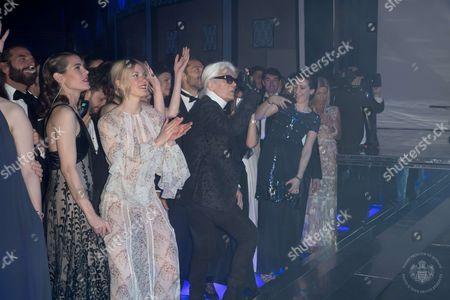 Charlotte Casiraghi, Juliette Maillot, Mona Walravens and Karl Lagerfeld