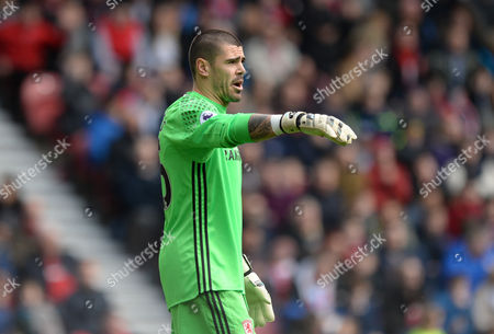 Victor Valdes of Middlesbrough during the Premier League match between Middlesbrough and Manchester United played at the Riverside Stadium, Sunderland on 19th March 2017