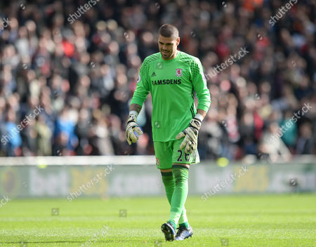 Victor Valdes of Middlesbrough during the Premier League match between Middlesbrough and Manchester United played at the Riverside Stadium, Middlesbrough on 19th March 2017