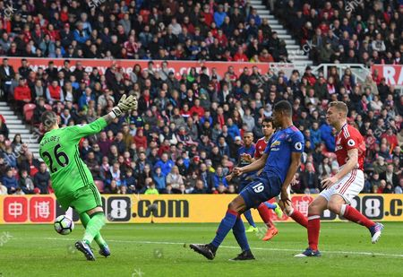 Marcus Rashford of Manchester United (2nd from right) sees his shot saved by Victor Valdes of Middlesbrough during the Premier League match between Middlesbrough and Manchester United played at the Riverside Stadium, Sunderland on 19th March 2017
