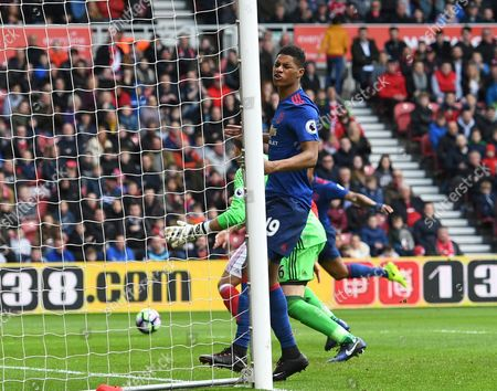 Marcus Rashford of Manchester United reacts after seeing his shot saved by Victor Valdes of Middlesbrough during the Premier League match between Middlesbrough and Manchester United played at the Riverside Stadium, Sunderland on 19th March 2017