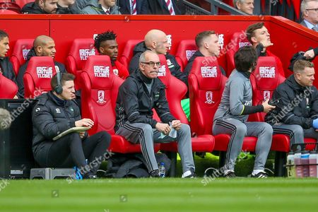Middlesbrough coach Joe Jordan  during the Premier League match between Middlesbrough and Manchester United at the Riverside Stadium, Middlesbrough