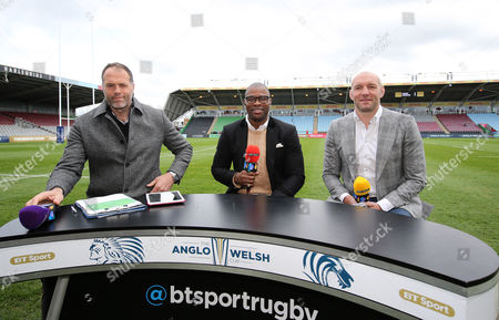 The BT Sport Rugby team of Martin Bayfield, Ugo Monye and Ben Kay before the Anglo Welsh Cup Final match between Exeter Chiefs and Leicester Tigers at the Stoop, Twickenham, London, England on Sunday 19th March 2017