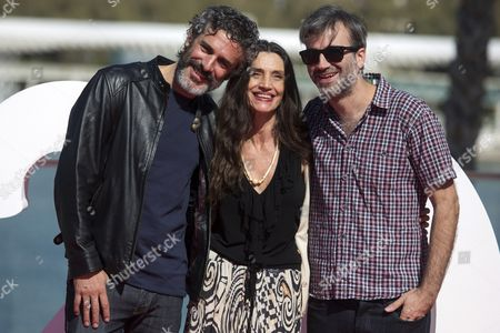 (From left) Argentinian actor Leonardo Sbaraglia, Spanish actress Angela Molina and Uruguayan actor Daniel Hendler pose for photographers after the presentation of their film 'El otro hermano' (The other brother) as part of 20th Malaga Film Festival, in Malaga, Spain 19 March 2017.
