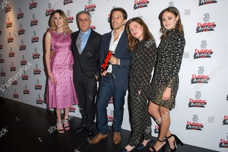 Stock Picture of Simon Halfon, Mat Whitecross and Fiona Nielson (Presenting Award Best Documentary) with Laura Carmichael and Ella Purnell