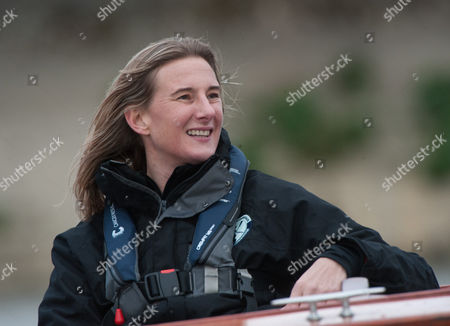 Stock Picture of Umpire for the race, Sarah Winckless MBE. The 2017 Boat Race Fixture between Oxford University Women's  Boat Club and Molesey Boat Club. The 2017 Boat Race Fixture, Thames Tideway, London,  Britain 19th March 2017.