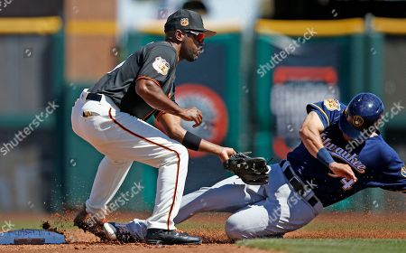 Milwaukee Brewers center fielder Kyle Wren, right, is tagged out by San Francisco Giants shortstop Jimmy Rollins, as Wren tries to steal second base during the second inning of a spring training baseball game, in Scottsdale, Ariz