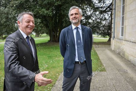 French Junior Minister for Sports Thierry Braillard meets Bordeaux's newly-appointed president Stephane Martin at Girondins de Bordeaux