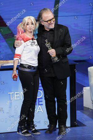 Luciana Littizzetto, Alessandro Bertolazzi, winner Academy Award 2017 make up film Suicide squad