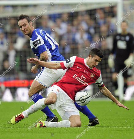 Martin Jiranek of Birmingham City Tackles Robin Van Persie of Arsenal United Kingdom London