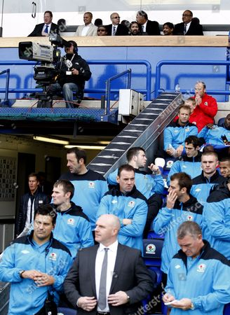 Blackburn Rovers Owners and Directors of Venky's Balaji Rao and Venkatesh Rao Watch Over Manager Steve Kean United Kingdom London