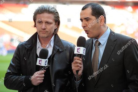 Former French International and Chelsea Player Emmanuel Petit Works For France 4 Television at Wembley Stadium United Kingdom London