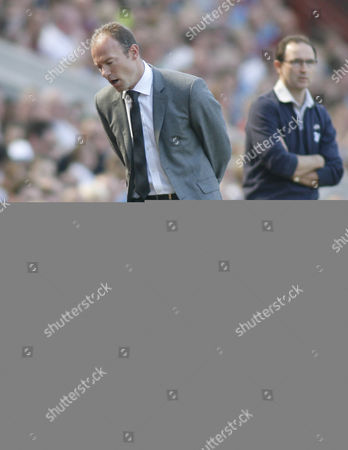 Newcastle United Manager Alan Shearer Rues A Missed Chance Next to Aston Villa Manager Martin O'neill United Kingdom Birmingham