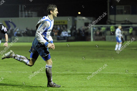 Wayne Henney of Barrow Celebrates the Winning Goal United Kingdom Barrow-in-furness