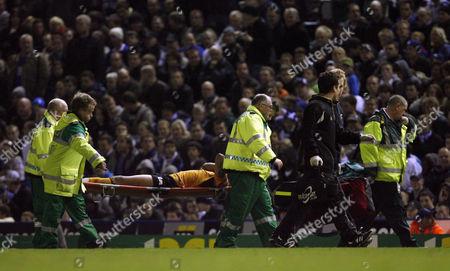 Chris Iwelumo of Wolverhampton Wanderers Leaves the Game Through Injury On A Stretcher United Kingdom Birmingham