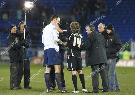 Ipswich Town Goalscorer Jimmy Bullard and Man of the Match Goalkeeper Marton Fulop Talk to Sky Tv at Full Time United Kingdom Cardiff