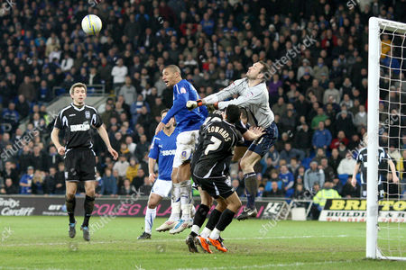 Ipswich Town Goalkeeper Marton Fulop Punches Clear Under Pressure From Cardiff City Striker Jay Bothroyd United Kingdom Cardiff