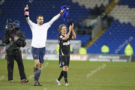Ipswich Town Goalscorer Jimmy Bullard and Man of the Match Goalkeeper Marton Fulop United Kingdom Cardiff
