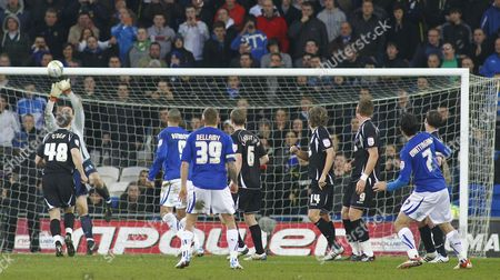 Cardiff City Midfielder Peter Whittingham Sees His Free Kick Pushed Onto the Crossbar by Ipswich Town Goalkeeper Marton Fulop United Kingdom Cardiff