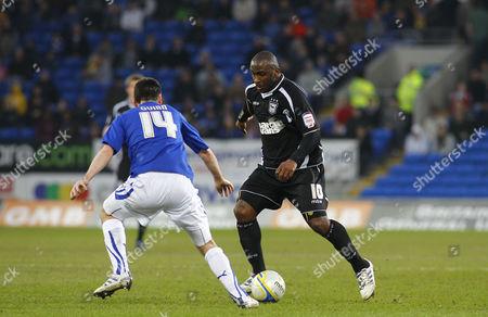 Ipswich Town Striker Jason Scotland and Cardiff City Defender Paul Quinn United Kingdom Cardiff