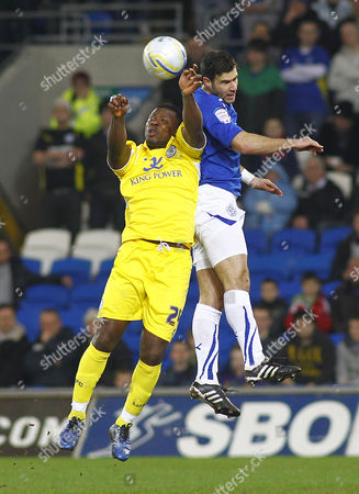 Leicester City Striker Yakubu Aiyenbeni and Cardiff Defender Dekel Keinan Battle For the Ball United Kingdom Cardiff