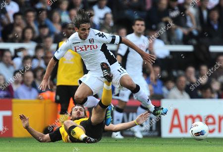 Brian Ruiz of Fulham is Tackled by Gael Givet of Blackburn Rovers United Kingdom London