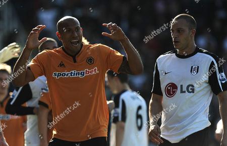Chris Iwelumo of Wolverhampton Wanderers Alongside Bobby Zamora of Fulham United Kingdom London