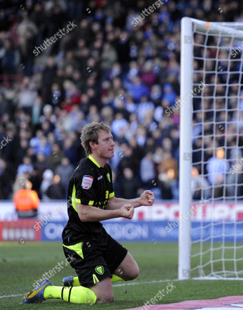 Luciano Becchio of Leeds Celebrates After Scoring Their Fourth Goal United Kingdom Huddersfield