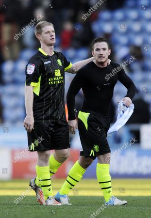 Alan Tate (l) and Ross Mccormack of Leeds United Kingdom Huddersfield