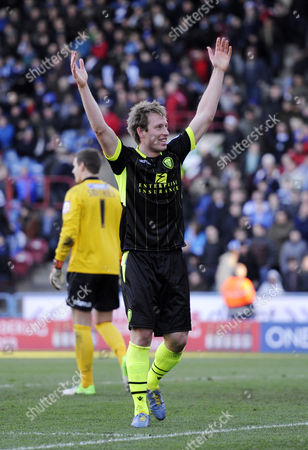 Luciano Becchio of Leeds Celebrates His Second Goal of the Game United Kingdom Huddersfield