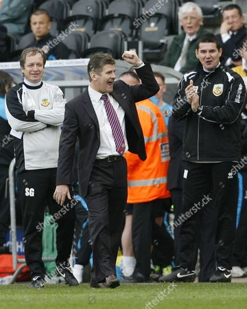 Burnley Manager Brian Laws Celebrates the Fourth Goal United Kingdom Hull