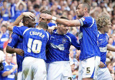Jason Scotland of Ipswich Town Celebrates His Goal with Team-mates United Kingdom Ipswich