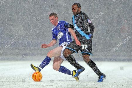 Darius Vassell of Leicester City and Shane O'connor of Ipswich Town United Kingdom Ipswich