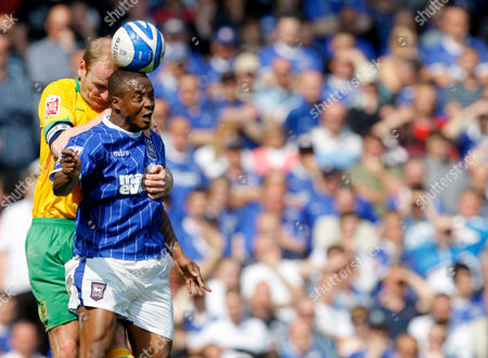 Gary Doherty of Norwich City and Kevin Lisbie of Ipswich Town United Kingdom Ipswich