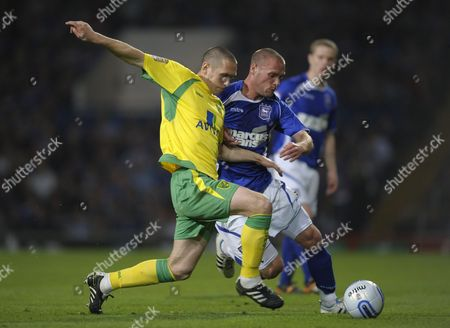 Andrew Crofts of Norwich City and Andy Drury of Ipswich Town United Kingdom Ipswich