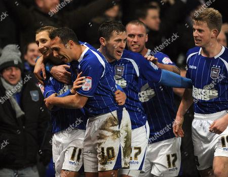 Lee Martin of Ipswich Town Celebrates Penalty 3-1 with Michael Chopra United Kingdom Ipswich