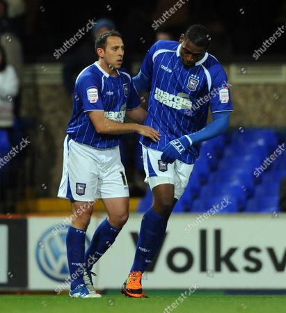 Michael Chopra (left) of Ipswich Town Celebrates 1-0 United Kingdom Ipswich